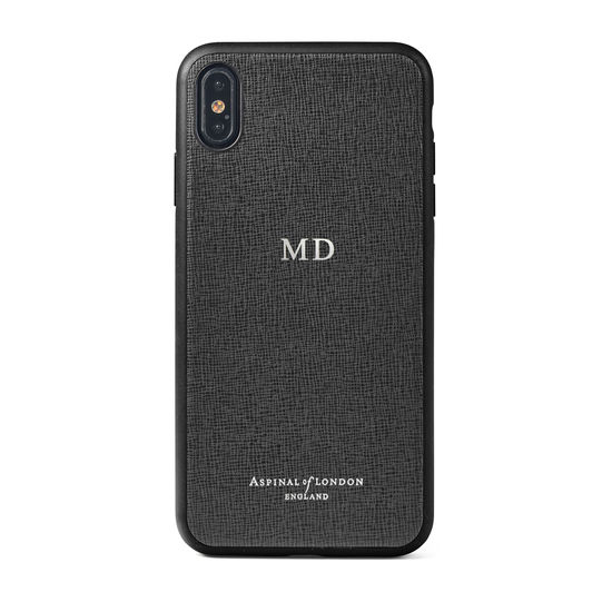 iPhone Xs Max Case with Black Edge in Black Saffiano from Aspinal of London