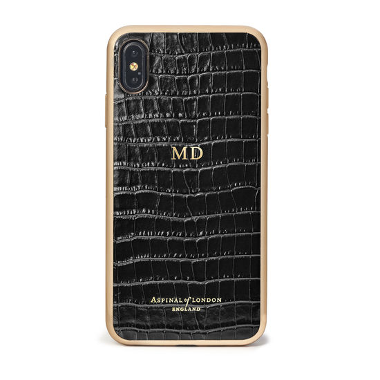 iPhone Xs Max Case with Gold Edge in Black Patent Croc from Aspinal of London