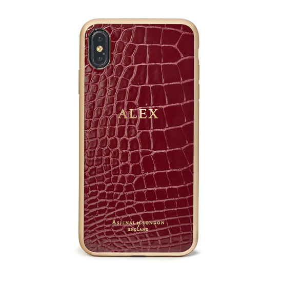 iPhone Xs Max Case with Gold Edge in Bordeaux Patent Croc from Aspinal of London