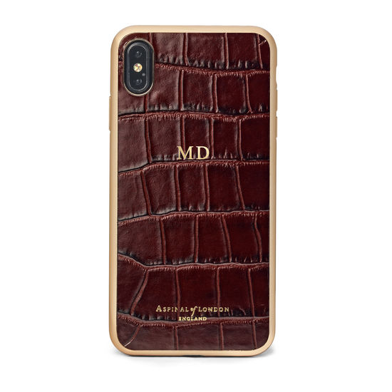 iPhone Xs Max Case with Gold Edge in Deep Shine Amazon Brown Croc from Aspinal of London