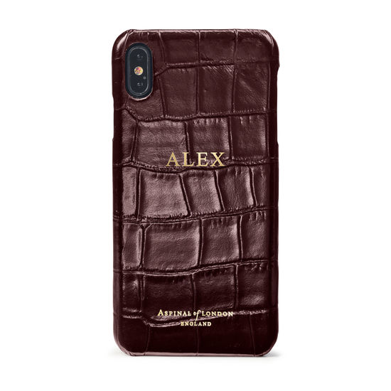 iPhone Xs Max Case in Deep Shine Amazon Brown Croc from Aspinal of London