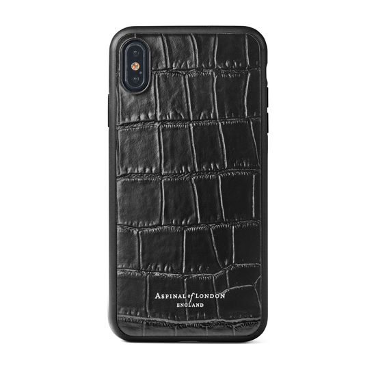 iPhone Xs Max Case with Black Edge in Deep Shine Black Croc from Aspinal of London