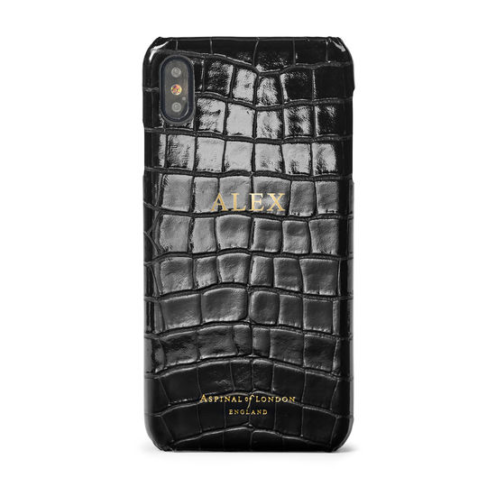 iPhone Xs Max Case in Black Patent Croc from Aspinal of London