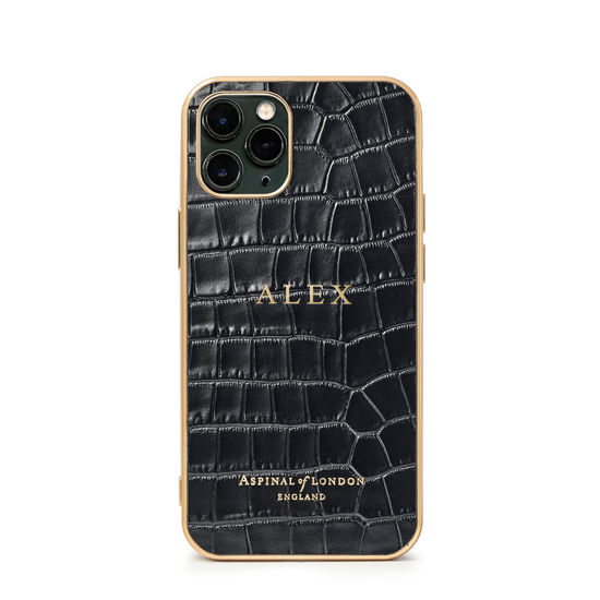 iPhone 11 Pro Case with Gold Edge in Black Small Croc from Aspinal of London