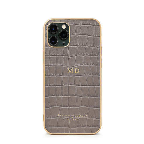 iPhone 11 Pro Case with Gold Edge in Deep Shine Warm Grey Small Croc from Aspinal of London
