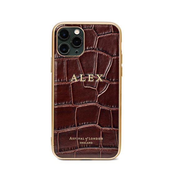 iPhone 11 Pro Case with Gold Edge in Deep Shine Amazon Brown Croc from Aspinal of London