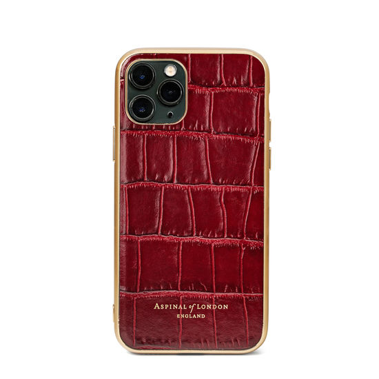iPhone 11 Pro Case with Gold Edge in Deep Shine Bordeaux Croc from Aspinal of London