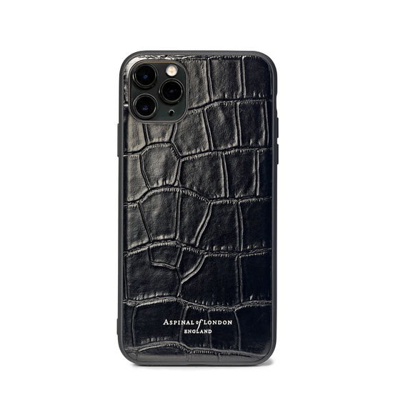 iPhone 11 Pro Case with Black Edge in Deep Shine Black Croc from Aspinal of London
