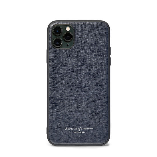 iPhone 11 Pro Case with Black Edge in Navy Saffiano from Aspinal of London