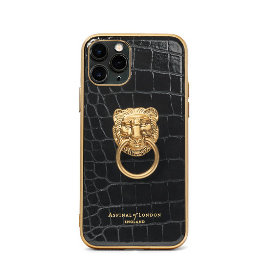 Lion iPhone 11 Pro Case in Black Patent Croc from Aspinal of London
