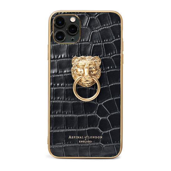 Lion iPhone 11 Pro Max Case in Deep Shine Black Small Croc from Aspinal of London