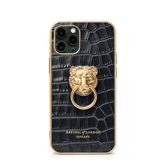 Lion iPhone 11 Pro Case in Deep Shine Black Small Croc from Aspinal of London