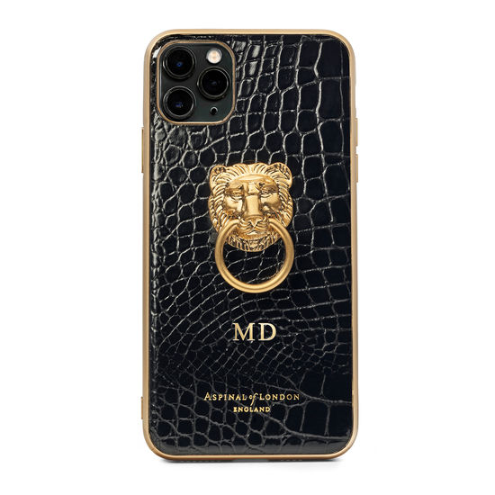Lion iPhone 11 Pro Max Case in Black Patent Croc from Aspinal of London