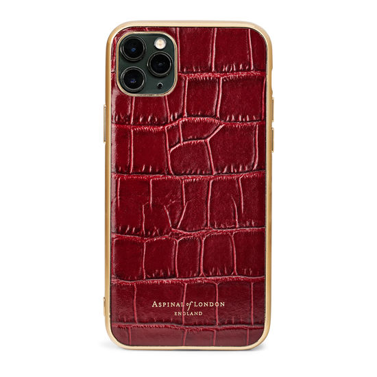 iPhone 11 Pro Max Case with Gold Edge in Deep Shine Bordeaux Croc from Aspinal of London
