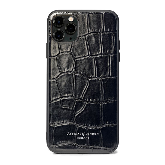 iPhone 11 Pro Max Case with Black Edge in Deep Shine Black Croc from Aspinal of London