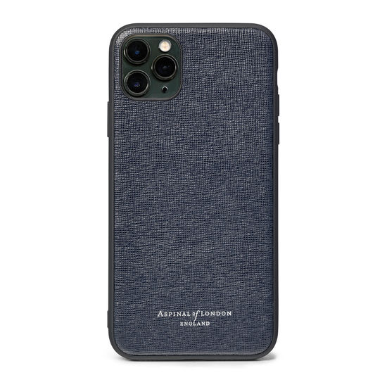 iPhone 11 Pro Max Case with Black Edge in Navy Saffiano from Aspinal of London