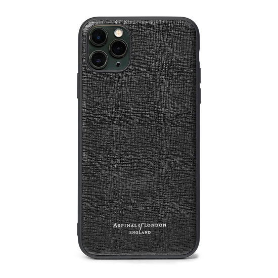 iPhone 11 Pro Max Case with Black Edge in Black Saffiano from Aspinal of London