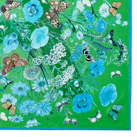 Botanical 'A' Silk Scarf in Chalkhill Blue Pure Silk from Aspinal of London