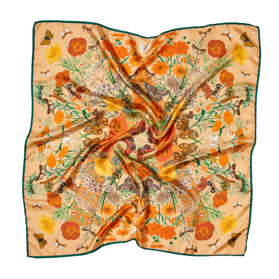 Botanical 'A' Silk Scarf in Meadow Pure Silk from Aspinal of London