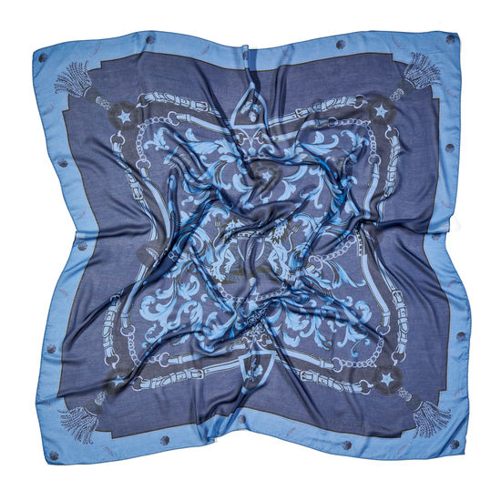 Signature Shield Cashmere Blend Scarf in Blue from Aspinal of London