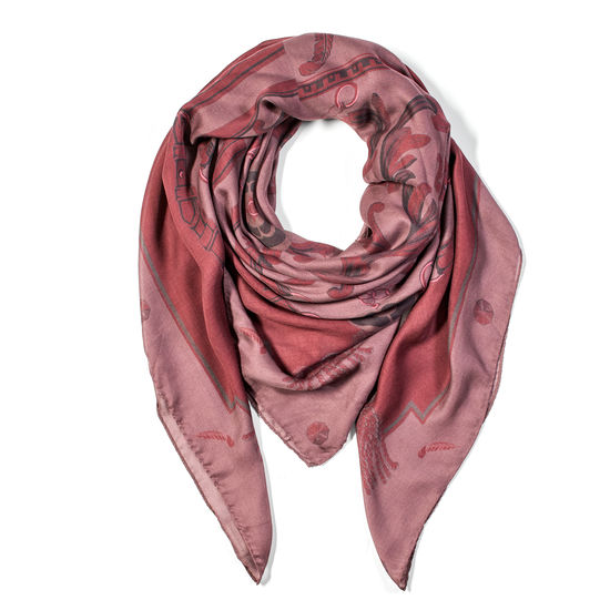 Signature Shield Cashmere Blend Scarf in Burgundy from Aspinal of London