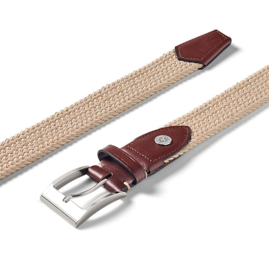 Braided Jeans Belt in Sand from Aspinal of London