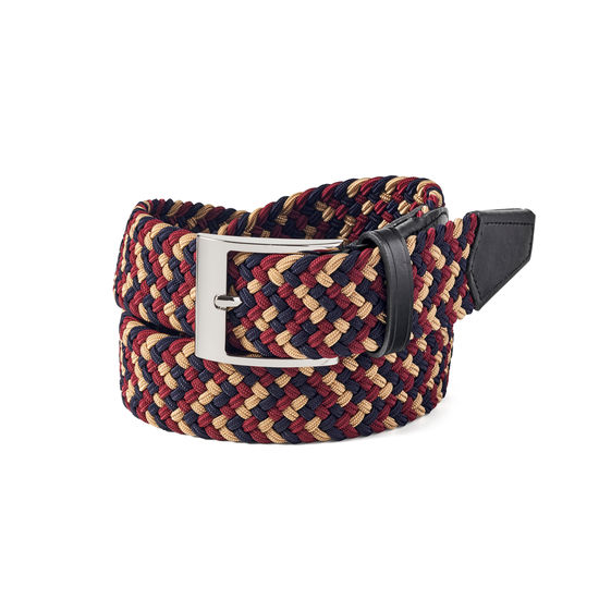 Braided Jeans Belt in Navy, Gold & Bordeaux from Aspinal of London