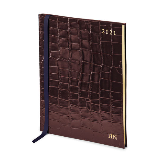 Quarto A4 Week to View Leather Diary in Deep Shine Amazon Brown Croc from Aspinal of London