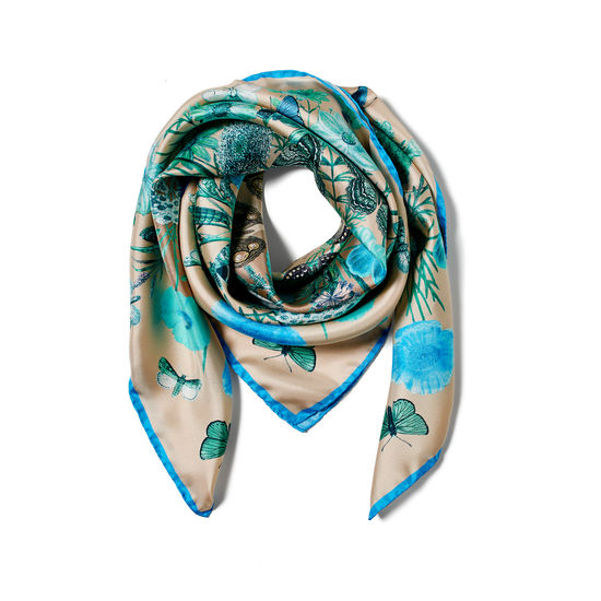 Botanical 'A' Silk Scarf in Storm Pure Silk from Aspinal of London