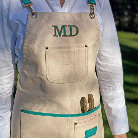 Gardening Apron in Petal Canvas & Chalkhill Blue Pebble from Aspinal of London