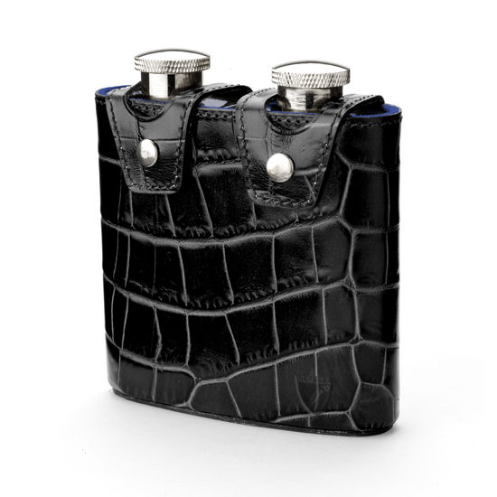 Double 6oz Leather Hip Flask in Deep Shine Black Croc & Cobalt Suede from Aspinal of London