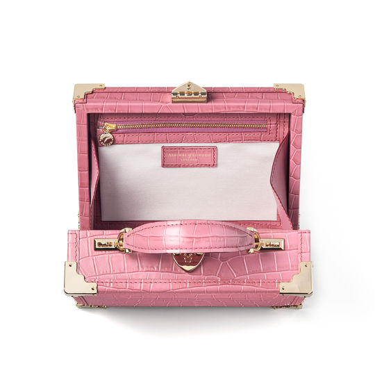 The Trunk in Deep Shine Tea Rose Small Croc from Aspinal of London