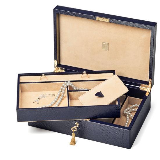 Savoy Jewellery Box in Midnight Blue Silk Lizard from Aspinal of London