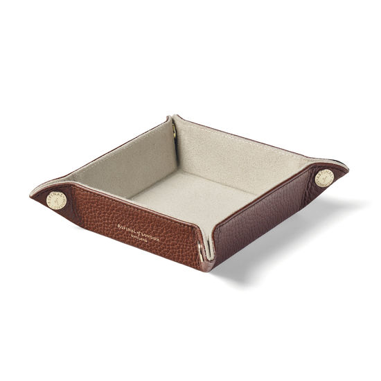 Mini Tidy Tray in Tobacco Pebble from Aspinal of London