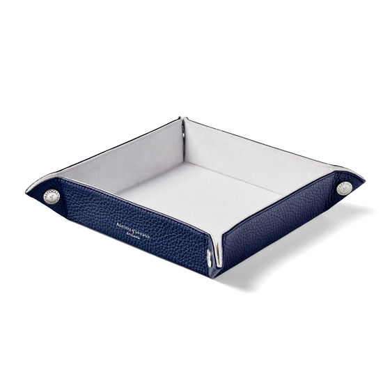 Medium Tidy Tray in Navy Pebble from Aspinal of London