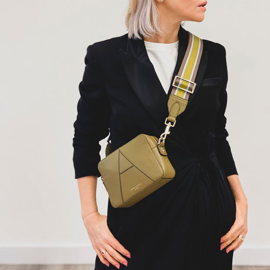 Webbing Bag Strap in Olive Pebble with Olive & Chestnut Stripes from Aspinal of London