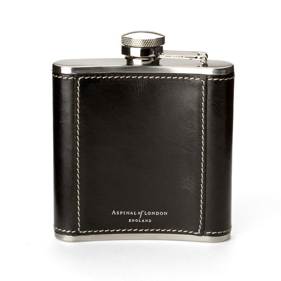 Classic 5oz Leather Hip Flask in Smooth Black from Aspinal of London