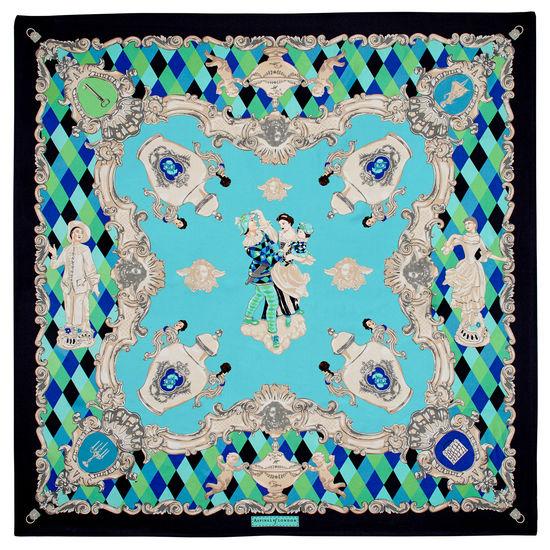 Harlequin Cherub Silk Scarf in Blue Pure Silk Twill from Aspinal of London