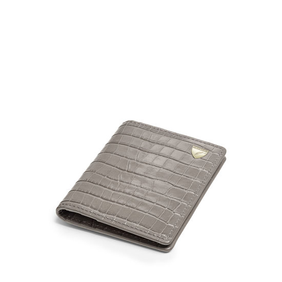 Double Fold Credit Card Holder in Deep Shine Warm Grey Small Croc from Aspinal of London