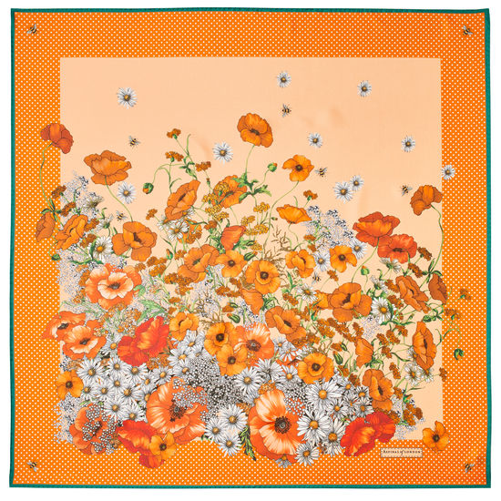 Polka Dot Poppy Silk Scarf in Meadow Pure Silk from Aspinal of London