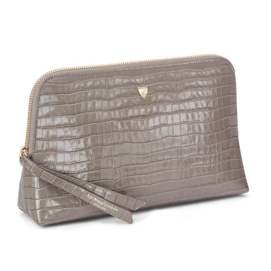 Large Essential Cosmetic Case in Deep Shine Warm Grey Small Croc from Aspinal of London
