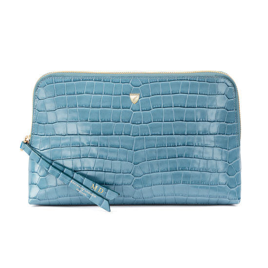 Large Essential Cosmetic Case in Deep Shine Cornflower Small Croc from Aspinal of London