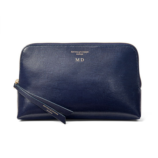 Large Essential Cosmetic Case in Midnight Blue Silk Lizard from Aspinal of London