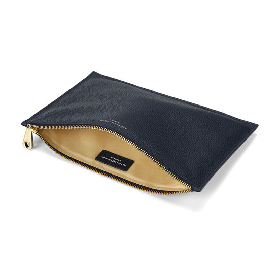 Large Essential Flat Pouch in Navy Pebble from Aspinal of London