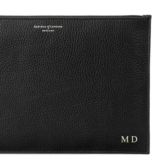 Large Essential Flat Pouch in Black Pebble from Aspinal of London