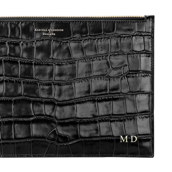 Large Essential Flat Pouch in Deep Shine Black Croc from Aspinal of London