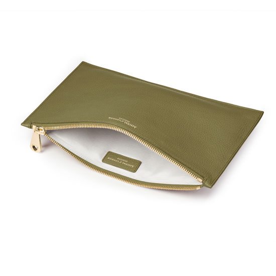 Large Essential Flat Pouch in Olive Pebble from Aspinal of London