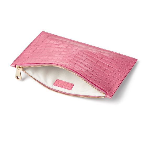 Large Essential Flat Pouch in Deep Shine Tea Rose Small Croc from Aspinal of London