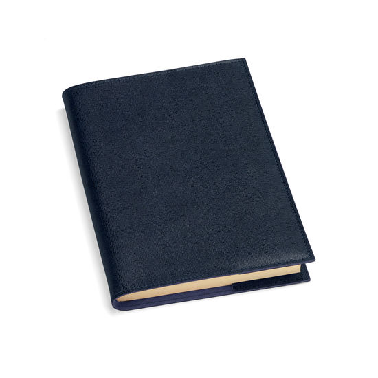 A5 Refillable Journal in Navy Saffiano from Aspinal of London