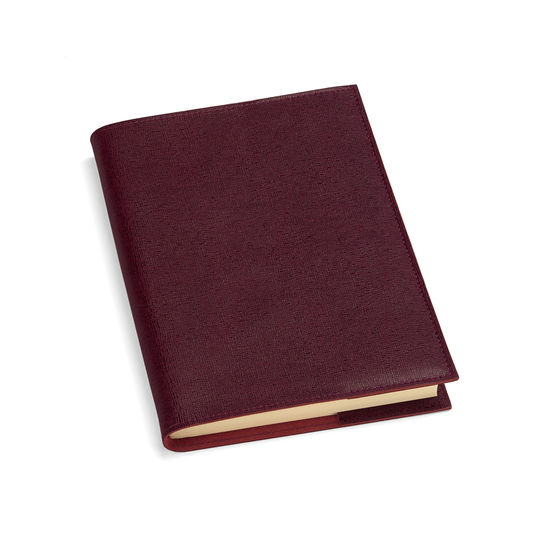 A5 Refillable Leather Journal in Burgundy Saffiano from Aspinal of London